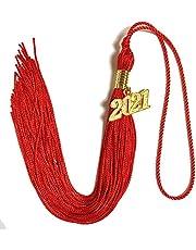 FLCODA 2021 Red Graduation Cap Tassel with Gold Year Charm,9 inch Long