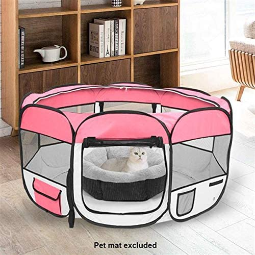 Alger Max Portable Pet Playpen Foldable Exercise Pen Kennel with Carry Bag Oxford Cage Kennel Suit Compatible Water Resistant for Dogs Puppies Cats Indoor Outdoor Use