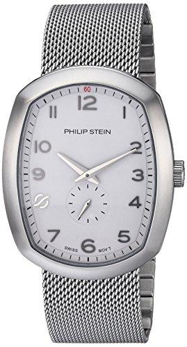 Philip Stein Men's 'Modern' Swiss Quartz Stainless Steel Casual Watch, Color:Silver-Toned (Model: 72-FWH-MSS)