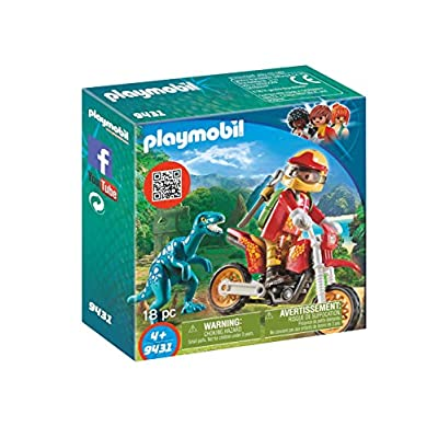 PLAYMOBIL Motocross Bike with Raptor Building Set: Toys & Games
