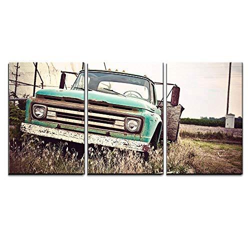 wall26 - 3 Piece Canvas Wall Art - Old Rusty Car Along Histo