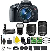 Canon EOS Rebel T5i 18.0 MP CMOS Digital Camera Digital SLR Camera + Canon EF-S 18-55mm IS STM + Canon EF-S 55-250mm IS STM + Dedicated Flash + Multi Battery Power Grip + 2pc 32GB Memory Cards