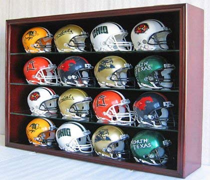 1/2 Scale Mini Football Helmet Display Case Cabinet Wall Rack w/UV Protection Door (Mahogany Finish)