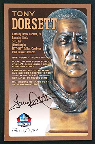 PRO FOOTBALL HALL OF FAME Tony Dorsett Dallas Cowboys Signed Bronze Bust Set Autographed Card with COA (Limited Edition #93 of 150)