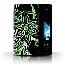 STUFF4 Phone Case / Cover for Sony Xperia ion LTE/LT28 / Green/White Design / Henna Paisley Flower Collection