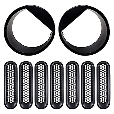 Front Grill Mesh Grille Insert Kit & Front Light Bezels Headlight Angry Eyes Style Trim Cover fit Jeep Wrangler JK 2007-2017 (9PCS, Black)