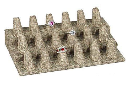 Showcase Finger Ring Display Finger Multi-Ring Jewelry Stand (Burlap, 18 Finger (8.25x4.75x2.5H))