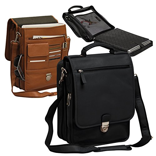 - Bellino The Reporter Vertical Leather Briefcase (Bellino) - Black