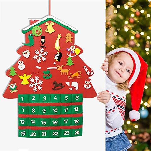 [해외]Akcoo 2019 Christmas Tree Felt Advent CalendarTraditional 24 Days Countdown to Xmas DIY Ornaments Decorations Window Wall Door Hanging GiftPockets for Kids / Akcoo 2019 Christmas Tree Felt Advent Calendar,Traditional 24 Days Countd...