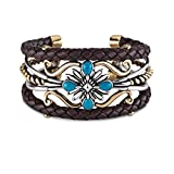 American West Jewelry - Sterling Silver, Blue Turquoise, Brass and Leather Cuff- Size Average - Country Couture Collection