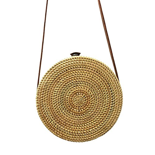 Woven Women Summer Round Rattan Straw Shoulder Messenger Handbag Prosperveil No Bags Beach 5 nXxq0Z5RU
