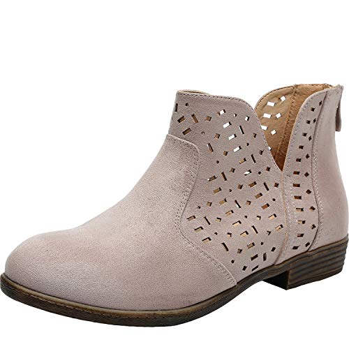 Luoika Women's Wide Width Ankle Booties - Low Flat Heel Side Zipper Round Toe Suede Comfy Boots.(181109,Beige,9.5)