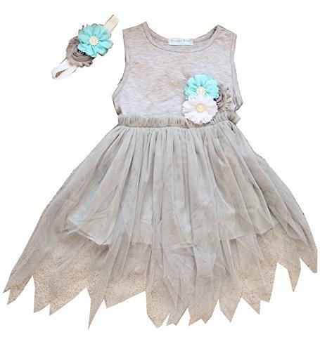 Sleeveless Grey Fairy Dress With Matching Handmade Elastic Headband for Baby Girls (3T) (Fairy Dress Toddler)