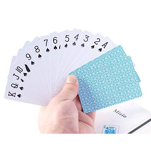 Waterproof Plastic Poker Playing Cards, Black PVC Poker Table Cards Classic Magic Tricks Tool Deck (54pcs)(White/Blue)