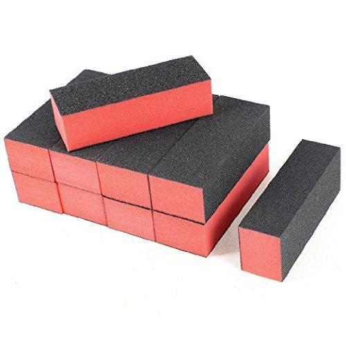Onwon 10 PCS Sanding Buffing Nail Polisher 4 Way Polish Buffer Buffing Block Nail Files Art Pedicure Manicure File(Black Red)