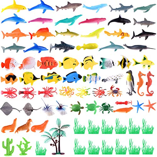 TUPARKA 78 Pack Ocean Animals Assorted ,Mini Plastic Sea Creature Animal Toys for Child Educational Party Favors ()