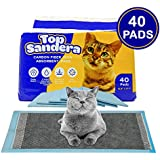 TOP Sandera – High Moisture Absorbent Pee Pads Pack of 40 Cat Litter Pads for Kitty and Puppy with 6 Layer Absorption Formula 12.9 x 17.7 Absorb Up to 625ml of Water Optimal for 2-3 Days of Use