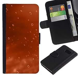 JackGot ( Water Drop Arancione ) Samsung Galaxy S6 la tarjeta de Crédito Slots PU Funda de cuero Monedero caso cubierta de piel