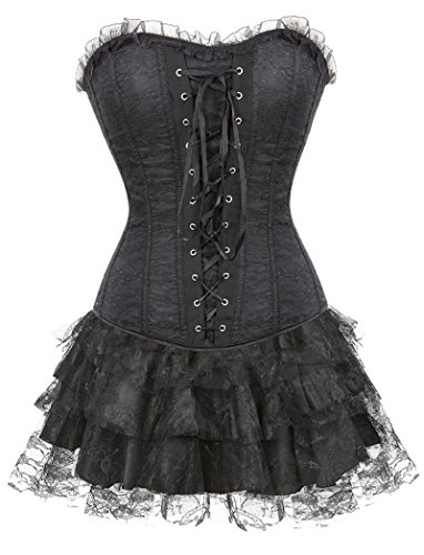 Lttcbro Women's Gothic Lace Overbust Corset Skirt Sexy Bustier Clubwear S Black - Corset Tutu