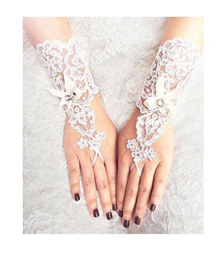 YuRong Lace Bridal Gloves Bow Wedding Gloves Rhinestone Gloves A15 (Ivory)