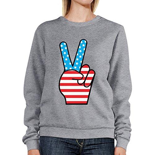 365 Printing - Sudadera - Manga Larga - para mujer American Flag Peace Grey SweatShirt