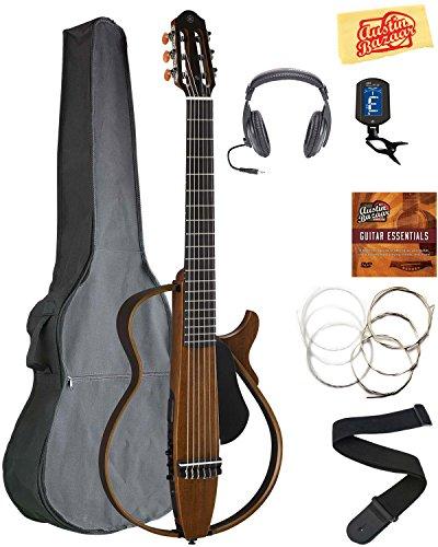 Yamaha SLG200N Nylon String Silent Guitar - Natural Bundle with Gig Bag, Headphones, Tuner, Strap, Strings, Austin Bazaar Instructional DVD, and Polishing (Nylon Guitar Tuner)