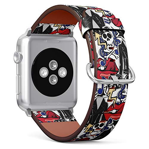 S-Type iWatch Leather Strap Printing Wristbands for Apple Watch 4/3/2/1 Sport Series (38mm) - Rock n roll Theme Doodles of Drums, Guitars, Skulls, Lips, and Jacket