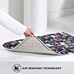Non Skid Memory Foam Bath Mat English Springer Spaniel and Retro Floral Home Decor Shaggy Rugs Entryway Mat, Machine-Washable/Fast Drying/Anti Fatigue Doormat (19.5 x 31.5 inch) 9