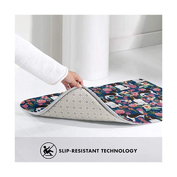 Non Skid Memory Foam Bath Mat English Springer Spaniel and Retro Floral Home Decor Shaggy Rugs Entryway Mat, Machine-Washable/Fast Drying/Anti Fatigue Doormat (19.5 x 31.5 inch) 4
