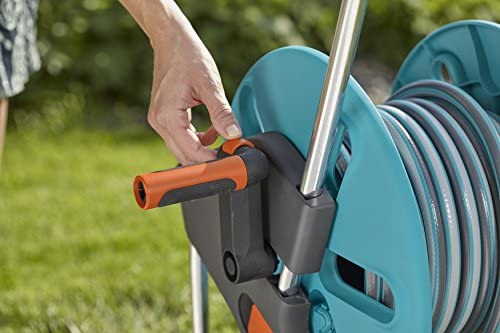 GARDENA 18502-26 Aquaroll Trolley S Set, Complete with 20 m Hose, System Parts and Spray Nozzle, Grey, Turquoise, Black, Silver, Orange, 36x44x48 cm