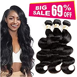 3 Bundles deal Brazilian Human Hair Body Wave Hair Bundles Cheap Brazilian Wavy Hair Weave 100 Human Virgin Hair Extensions 8A Grade Natural Black Color (10 12 14) inch