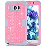 Samsung Galaxy Note 5 Case, NOKEA Diamond Hybrid Heavy Duty Shockproof Full-Body Protective Ultra Slim Bumper Cover 3 in 1 Shield Soft TPU Hard PC Dual Layer Impact Protection (Pink Grey)