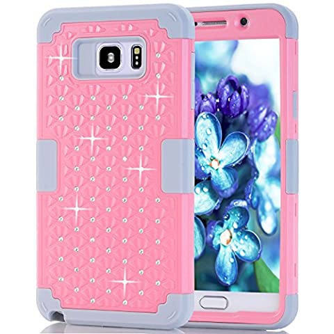Samsung Galaxy Note 5 Case, NOKEA Diamond Hybrid Heavy Duty Shockproof Full-Body Protective Ultra Slim Bumper Cover 3 in 1 Shield Soft TPU Hard PC Dual Layer Impact Protection (Pink (Galaxy Note 2 3 Layer Case)
