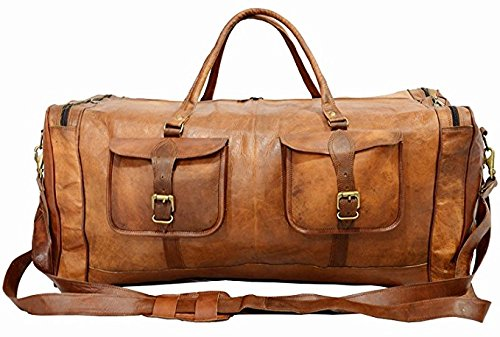 KK's 30 Inch Real Goat Leather Large Handmade Travel Luggage Bags in Square Big bag Carry On by kk's leather