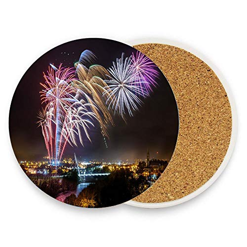 Absorbent Stone Coasters for Drinks with Modern Design - Strabane Halloween Fireworks Display 2017 Coaster Pack of 1 for Home Decor and Housewarming Gift]()