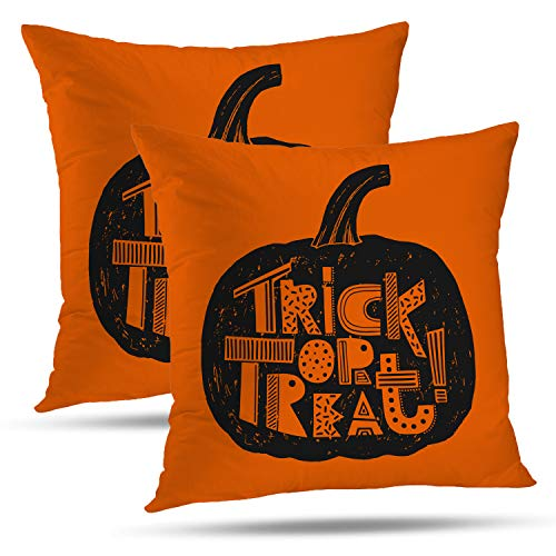 Batmerry Halloween Pillow Covers 18x18 inch Set of 2,Hand Halloween Pumpkin Orange Treat Trick Font Scary Sign Art Throw Pillows Covers Sofa Cushion Cover Pillowcase Home -