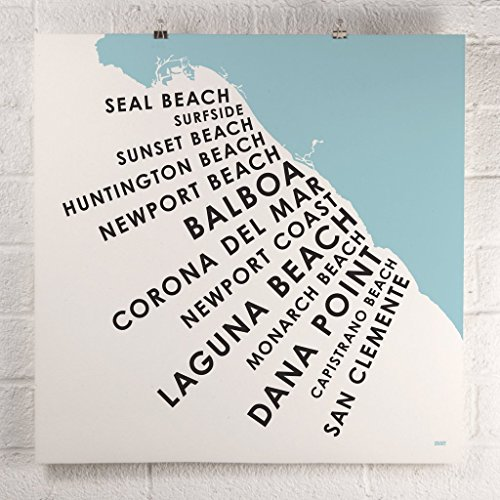 Orange County Beach Map Print on Recycled Paper, 24