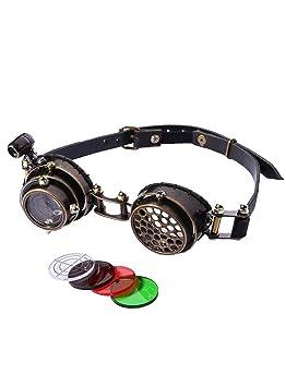 8dbca224939a4 RQ-BL Lunettes Goggles Steampunk Noire lentille viseur avec lumière LED  sans Correction