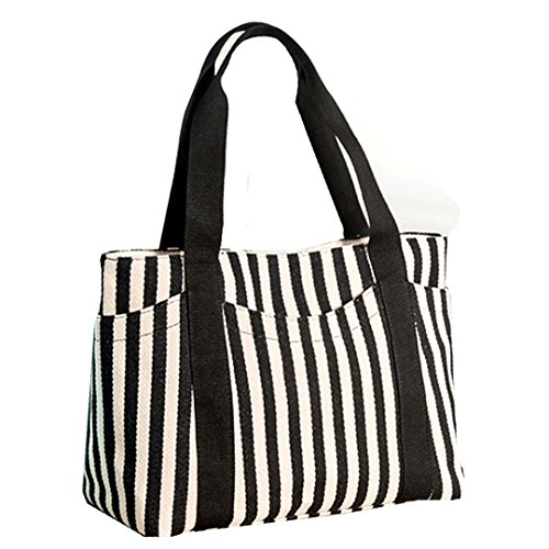 Kennedy Women Fashion Striped Thickened Canvas Single Shoulder Bag / Handbag / (Black Striped Handbag)