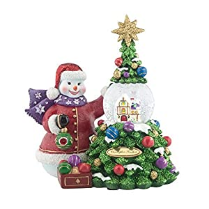 snowman decorating christmas tree 5 x 6 inch resin water snow globe figurine - What Do You Put In Christmas Tree Water