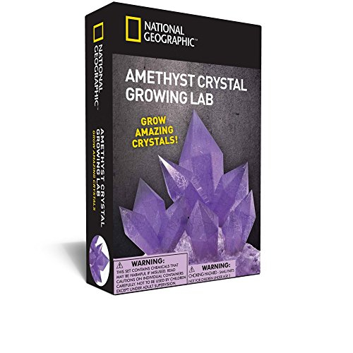 (NATIONAL GEOGRAPHIC Purple Crystal Growing Lab - DIY Crystal Creation - Includes Real Amethyst Crystal Specimen )