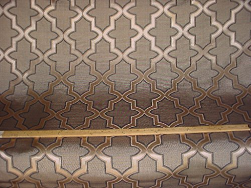 Lattice Stripe Silk (142RT2 - Metallic Graphite / Gold Lattice / Trellis Faux Silk To the Trade Designer Upholstery Drapery Fabric - By the Yard)