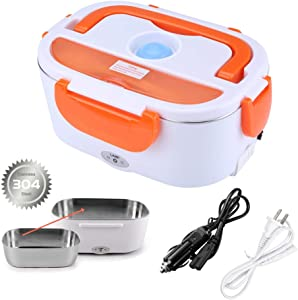 Electric Lunch Box Food Heater for Car and Home with Removable 304 Stainless Steel Storage Container Warming Bento 2 in 1 Car 12V and Home Use 110V (Orange)