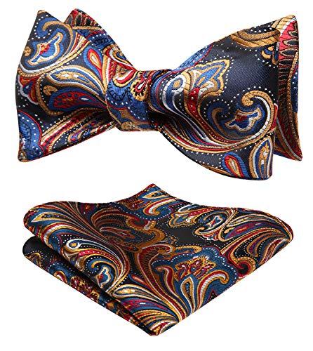 SetSense Men's Floral Jacquard Woven Self Bow Tie Set One Size Blue/Orange