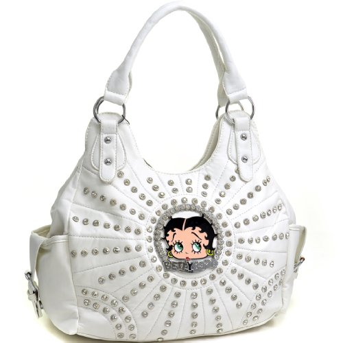 Betty Boop Shoulder Bag / Messenger Bag / Checkbook Wallet with Rhinestones and Stud Accent
