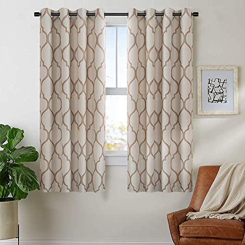 "jinchan Linen Textured Curtains Moroccan Tile Printed Curtain Panels Room Darkening Bedroom Living Room Thermal Insulated Window Treatment Drapes 2 Panels 45"" L Taupe"