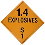 Labelmaster PL76 Explosive Class 1.4 S Hazmat Placard, Tagboard (Pack of 25)