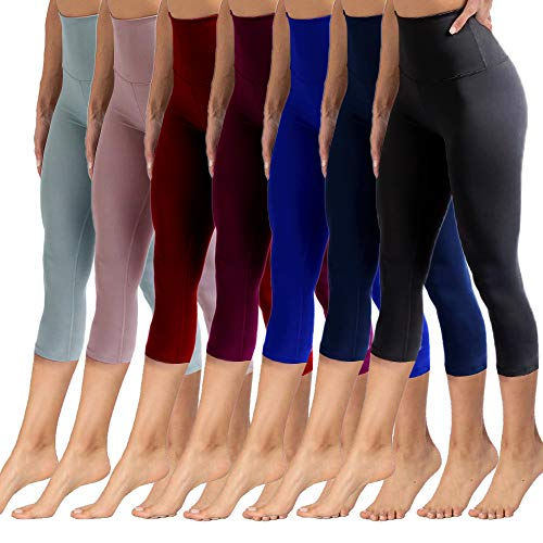 High Waisted Capri Leggings for Women Tummy Control Soft Opaque Slim Pants for Cycling, Yoga, Running (Cheap Leggings For Women)