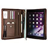 Genuine Leather Portfolio Professional Padfolio Zippered Briefcase with Handle, Multi-function Office Organizer Interview Document Holder Business Folder Brown for iPad Pro 12.9 inch