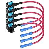 Qiilu 12v Car Auto Add-a-circuit Fuse Tap Adapter Blade Fuses Holder Mini ATM APM Standard ATO ATC Fuse Holder Plug Pack of 5(Micro Mini)